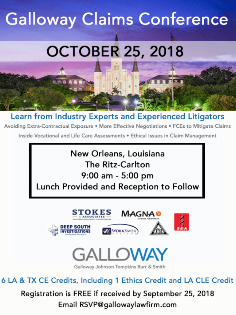save the date galloway claims conference october 25 2018